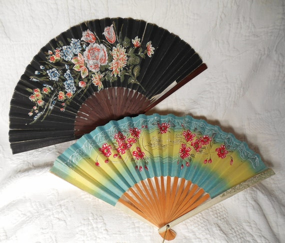 VINTAGE Floral Japanese Fans From Occupied Japan 1940s