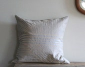 Silver geometric handprinted organic hemp pillow cover 20x20