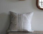 Pewter geometric handprinted hemp pillow cover 20x20