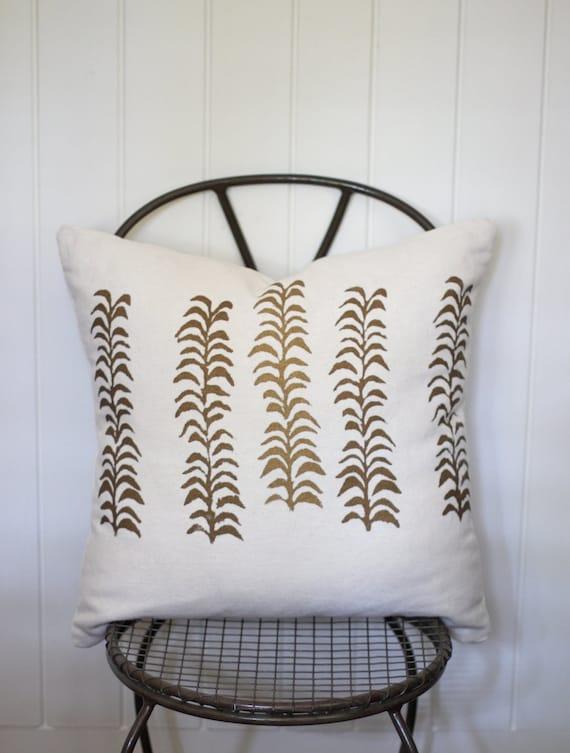 Phyllis Ann handprinted hemp pillow cover 20 x 20 in metallic gold