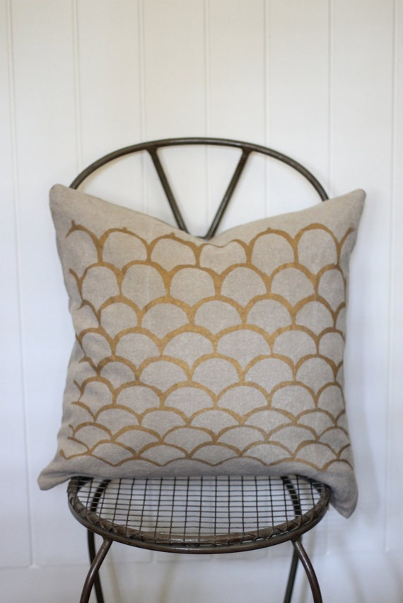 Mimi handprinted hemp pillow cover 20 x 20 in metallic gold