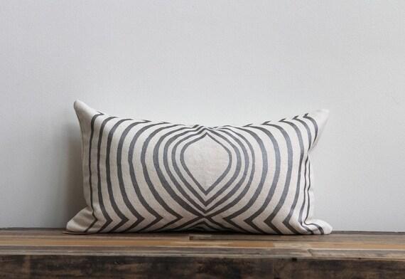 Aya Contour pillow cover in metallic silver hand printed on off-white organic hemp 12x21