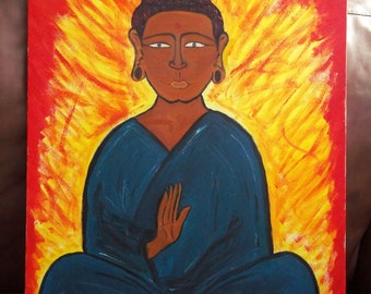 """Original Oil Painting """"Buddha of Peace"""" 22 x 28 inches"""