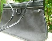 Vintage FS ORIGINALS Black purse with FAUX leather trim Circa 1980's