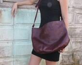 Vintage WOODWARD and LOTHROP Burgundy Leather Bag Circa 1970s