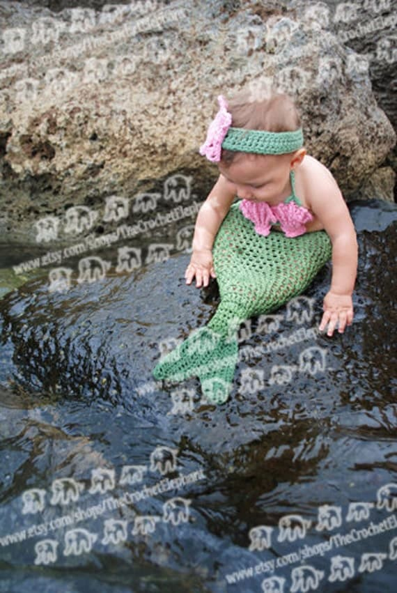 Mermaid Tail, Seashell Bikini Top and Sea Star Headband Set, Newborn