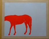"""Horse No. 4  - Acrylic Paint on Mylar. Mylar Dimensions 17x14"""". Painting Dimensions 15x14""""."""