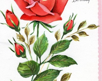 Birthday Card To DAUGHTER Red Rose Vintage 1960's