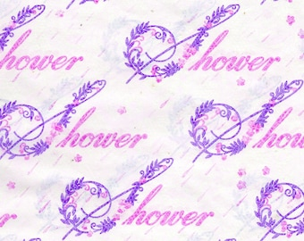 PINK Purple Baby Shower Gift Wrapping Paper Child 1970's Flowers