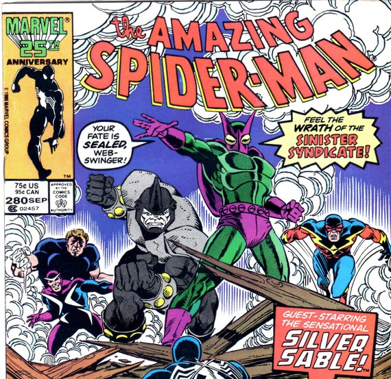 Vintage Spiderman Comic Book w/ Silver Sable Issue No. 280 September 1986 vs. Sinister Syndicate