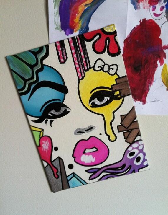 Mini Masque Magnet - 5x7 Hand-painted Original Acrylic Painting