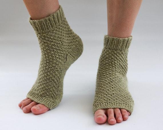 Light Green Hand Knit Toeless / Pedicure / Yoga / Pilates Socks