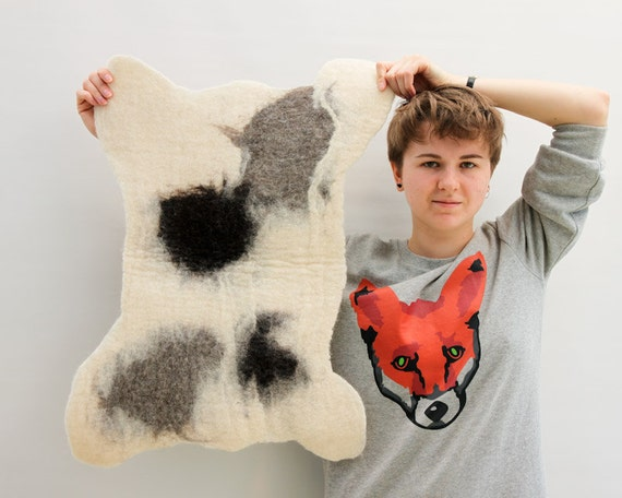 Woolen Cow Skin rug hand felted Small