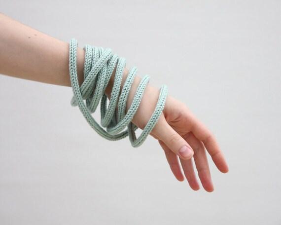 Light green knit necklace or bracelet