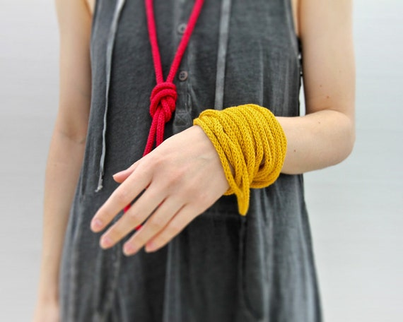 Yellow knitted necklace or bracelet