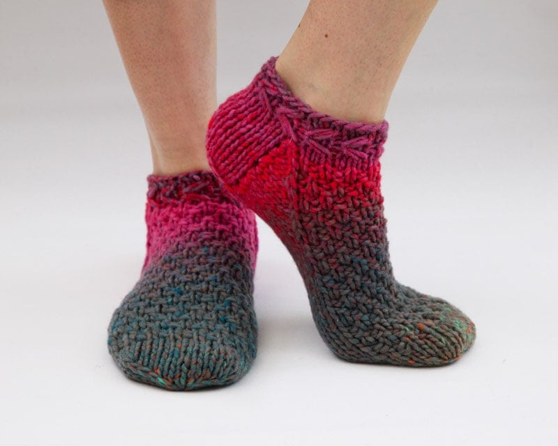 Ankle Sock Knitting Pattern : Ankle Socks Knit Slippers by HappyLaika on Etsy