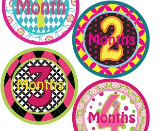 Monthly Bodysuit Labels - Geometric Patterns - Baby Shower gift - For a baby girl months 1-12