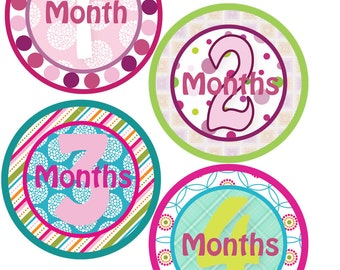 Monthly Bodysuit Stickers - Mod Girl - Baby Shower or New Mom gift - For a baby girl 1-12 months