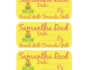 27 Personalized Removable Labels - Personalized Daily Bottle Labels - Breast Milk Labels
