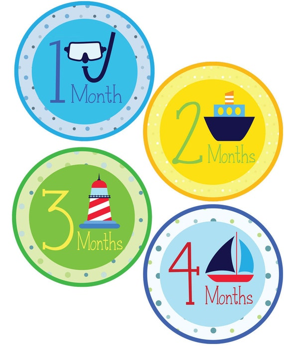 Nautical Monthly Stickers - Boy Monthly Stickers - Baby Shower or New Mom Gift - Baby Boy 1-12 Months - Waterproof Die Cut Stickers