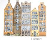 Houses Amsterdam Print From Original Watercolour
