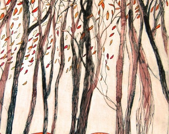 Autumn Trees Print giclee From an Original Painting