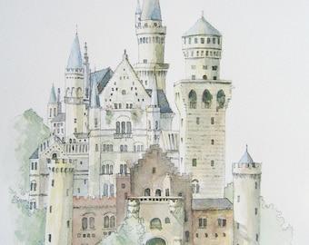German Castle Print From Original Watercolour