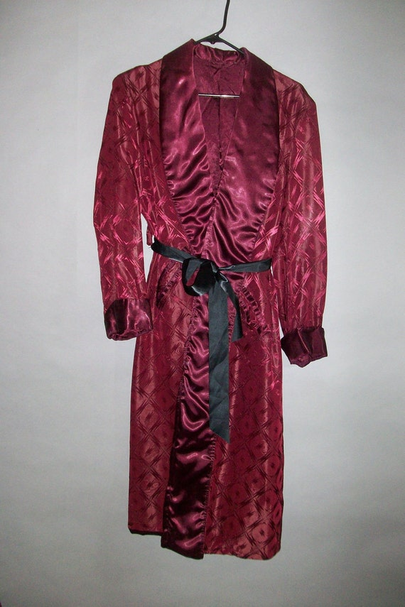 1940s Mens Luxury Satin Robe // Smoking Jacket // Fully Lined...Large