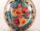 Ostrich Pysanky Egg, Pysanka KOI fish IN STOCK