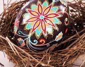 Chicken Pysanky Egg, Floral Gem