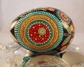 Primative Folk Flower, floral, Pysanka, Pysanka, Turkey Egg Turquoise, Red, Orange, Blue