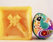 Bob White Egg, Tiny Pysanka, Folk Pysanky with Partridge Motif, Teal and Purple, Floral, Flowers