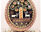 Ostrich Pysanky,  Tree with Deer SPECIAL ORDER