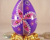 RESERVED FOR CARMEN...Turkey Batik Easter Egg, with gold stand shipped Priority