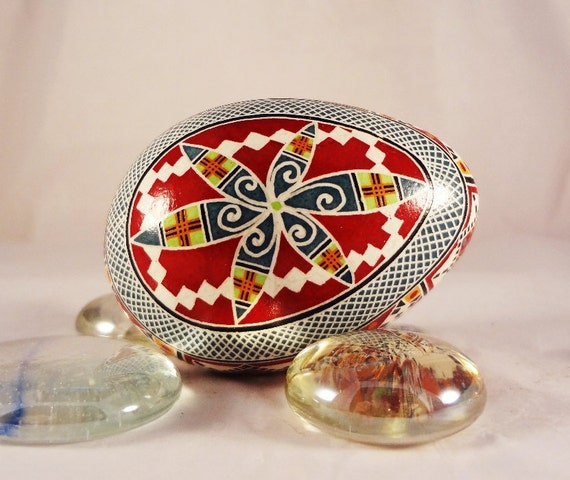 Turkey Pysanky Egg, Pysanka, Detailed Spiral in Dark Teal and Ruby Red, Lime and Orange