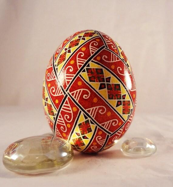 Chicken Pysanky Egg Pysanka Diamond Divison Bright Red