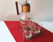 Mid Century Corning Glass Carafe Coffee Server with Sugar and Creamer in stand