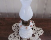 Vintage Hobnob White Milk Glass Oil Lamp with Pink Rosettes