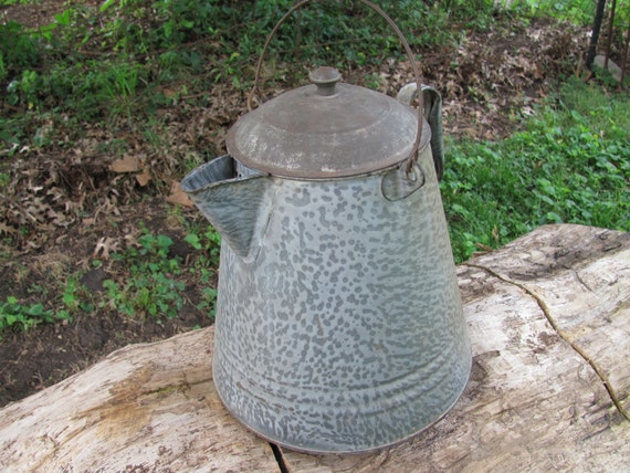 Antique Gray Spatter Graniteware Water Kettle Coffee Kettle . . Extra Large