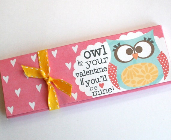 Printable Candy bar Box, Owl be your Valentine