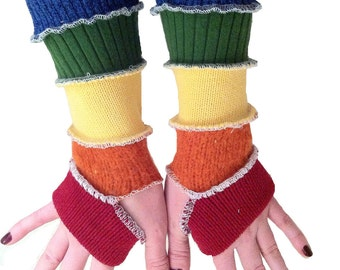TUTORIAL  Rainbow colored sleeves upcycled arm warmers