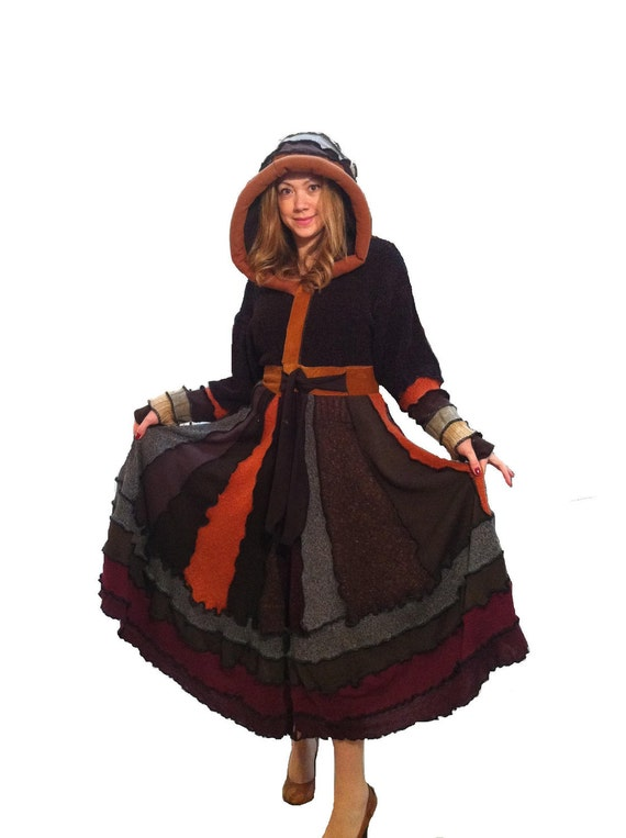 """SALE """"Cocoa"""" XXL elf hoodie upcycled sweater coat by Hope Floats Upcycled"""