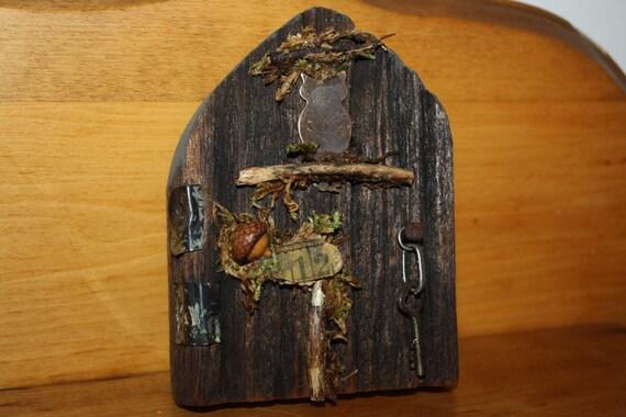 Mini fairy door faerie door reclaimed wood OOAK