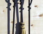 Fireplace tools 4-peice set with vine style handles Hand crafted by a blacksmith in the heart of the Missouri Ozarks USA