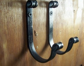 Pair of hand forged wrought iron hooks Hand crafted by a blacksmith in the heart of the Missouri Ozarks
