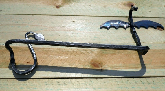 Dragon towel bar hand forged wrought iron Hand crafted by a blacksmith in the heart of the Missouri Ozarks USA