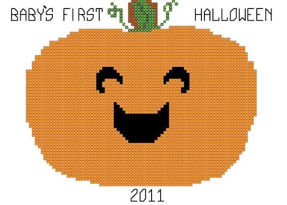 Babys First Halloween/ Cross Stitch Pattern/Counted Cross Stitch/Pumpkin Cross Stitch Pattern/Cross Stitch Pumpkin/Digital  Pattern