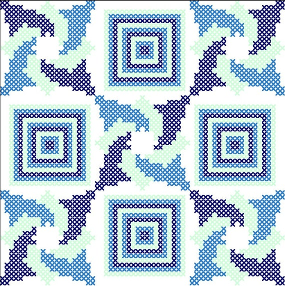 Quilt Patterns Cross Stitch : Cross Stitch Pattern Quilt Block Triptych/Modern Cross Stitch