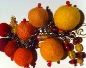 Felt Bead Bracelet Charm Bracelet In Monochromatic Sunshine Colors