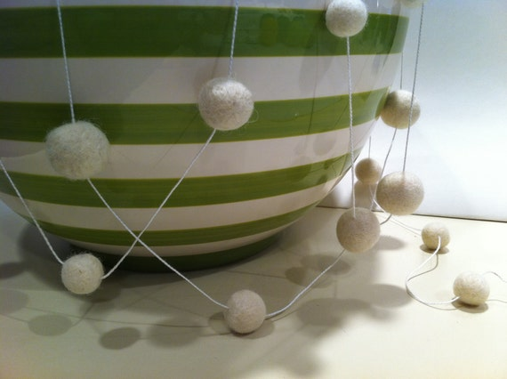 Felted Ball Garland Oh So White 8 Foot Home Decor